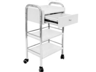 Chariot avec tiroir et deux étagères en bois avec roulettes,structure métallique