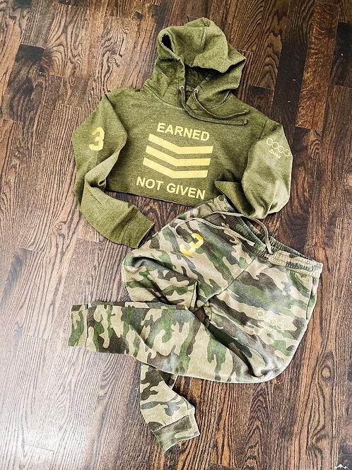 Army Heather ENG Crop Hoodie Set (W)