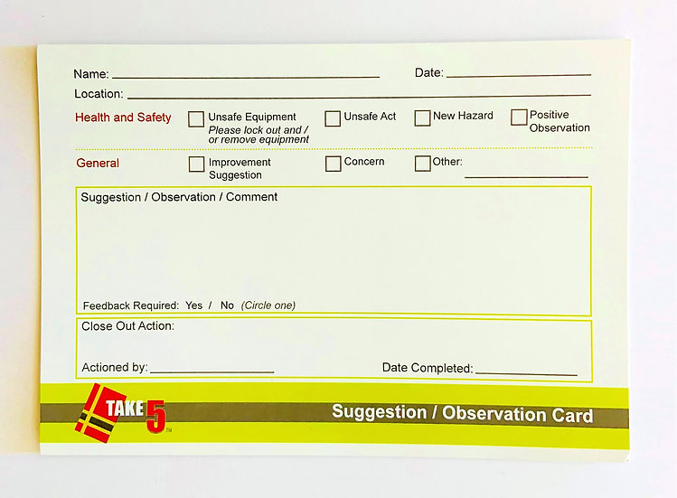 Safety Observation / Suggestion Cards