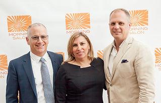 Adam Block, sustainable food pioneer, Lisa Hendrickson, creator or Morning Salon and Rick Kilmer, President of FLOR