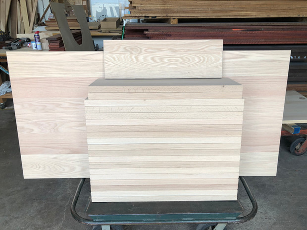 Red Oak stair treads/ landing w rounded edges