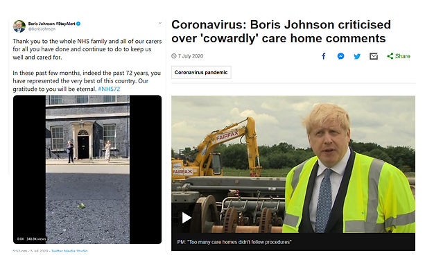 Boris Johnson thanks Carers on Sunday only to blame them on Monday