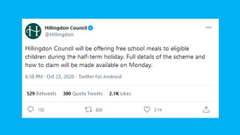 Twitter reacts as Hillingdon Council offer free school meals over half-term