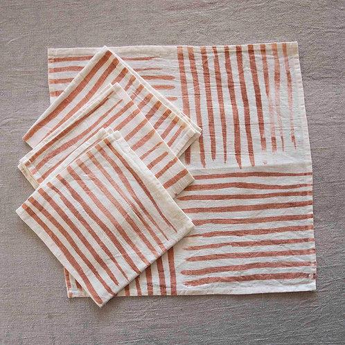 Set of 4 Napkins | Stripe, Peach on White