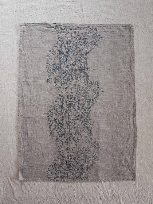 Linen Tea Towel | Tea Tree, Smoke on Flax #1
