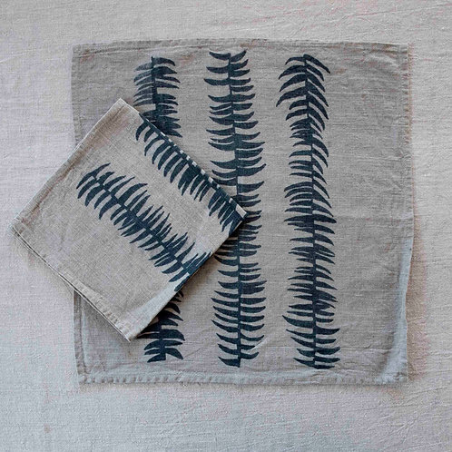 Set of 2 Napkins | Frond, Smoke on Flax
