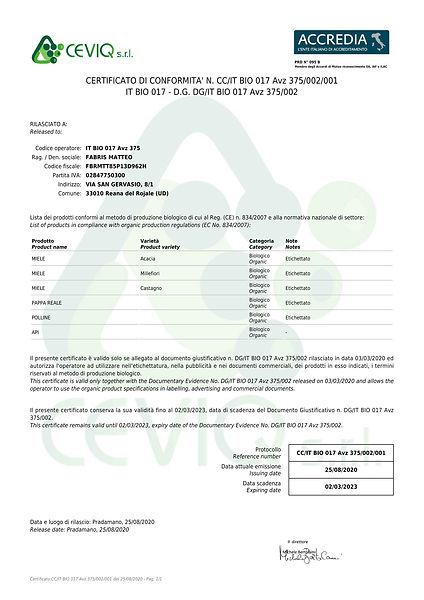 Certificato Azienda Apistica Biologica Prodotti Apicoltura Bio Miele Polline Pappa Reale Api