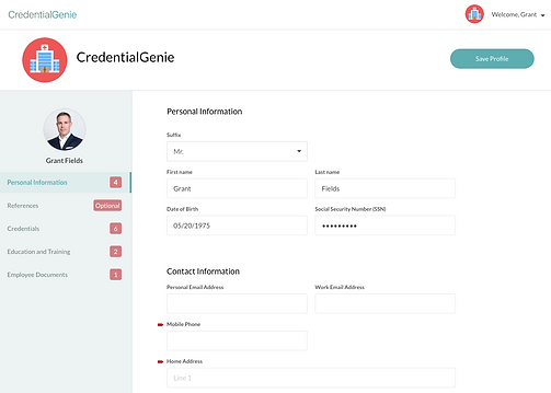 credentialgenie credentialing software self-onboarding for providers