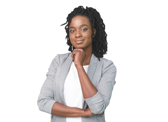afro-business-lady-touching-chin-smiling