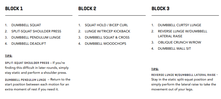 WORKOUT THREE BLOCKS 1, 2 & 3