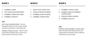WORKOUT THREE BLOCKS 1, 2 & 3