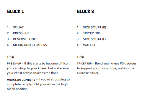 WORKOUT ONE BLOCKS 1 & 2