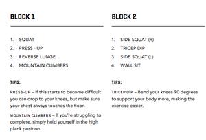 WORKOUT ONE BLOCKS 1 & 2