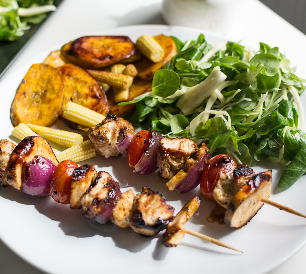 Chicken Shish Kebabs with Potato Slices.