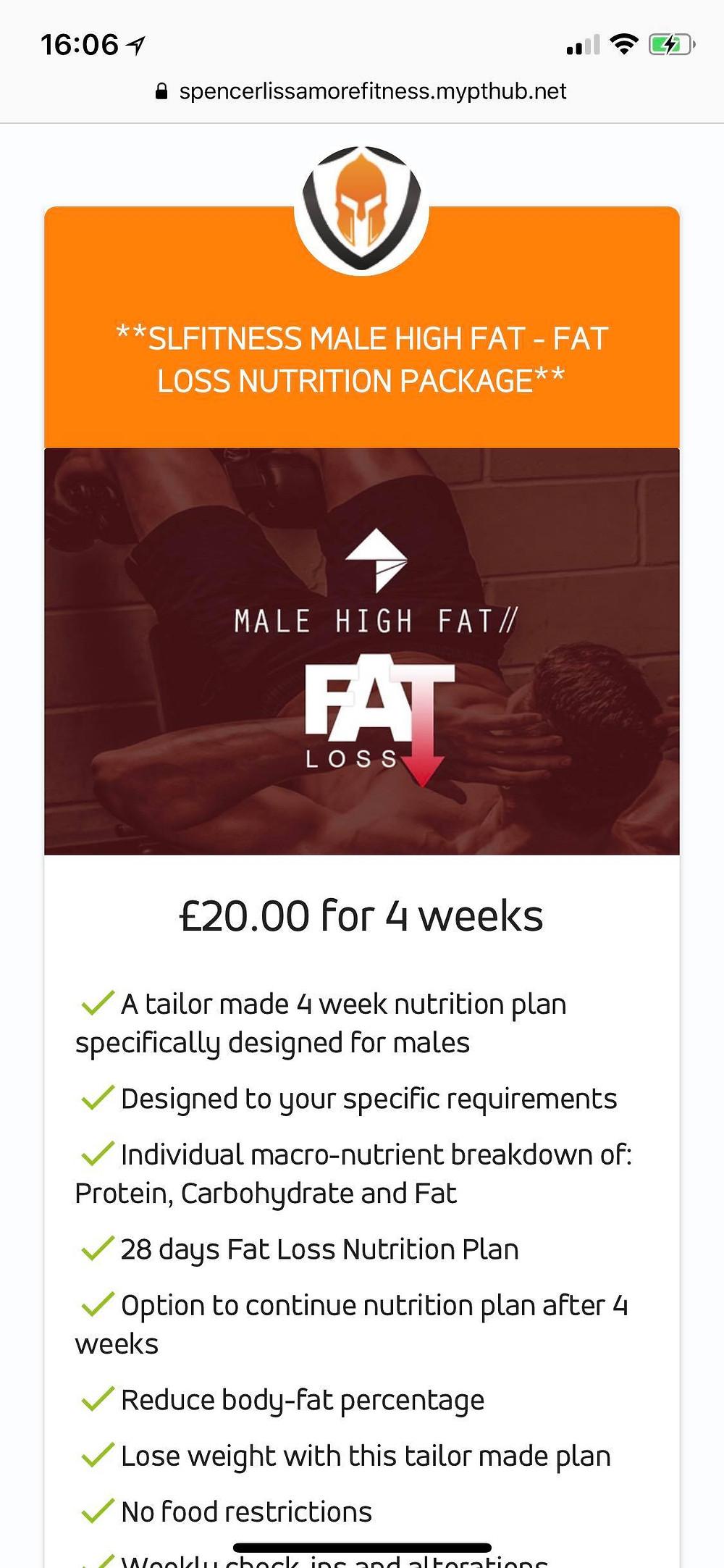 Male Fat Loss Nutrition Plan