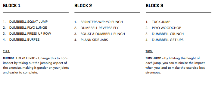 WORKOUT FOUR BLOCKS 1, 2 & 3