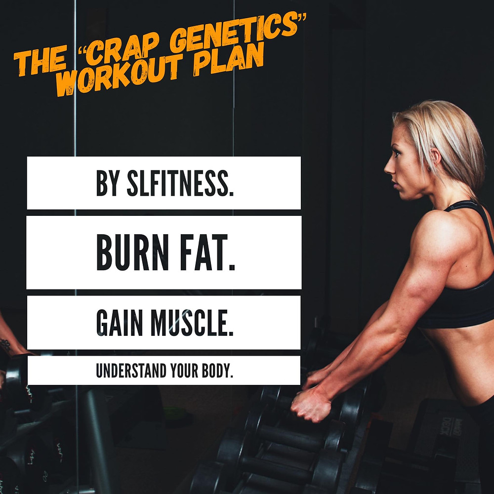 """The new """"crap genetics"""" workout plan by SLF - available now."""