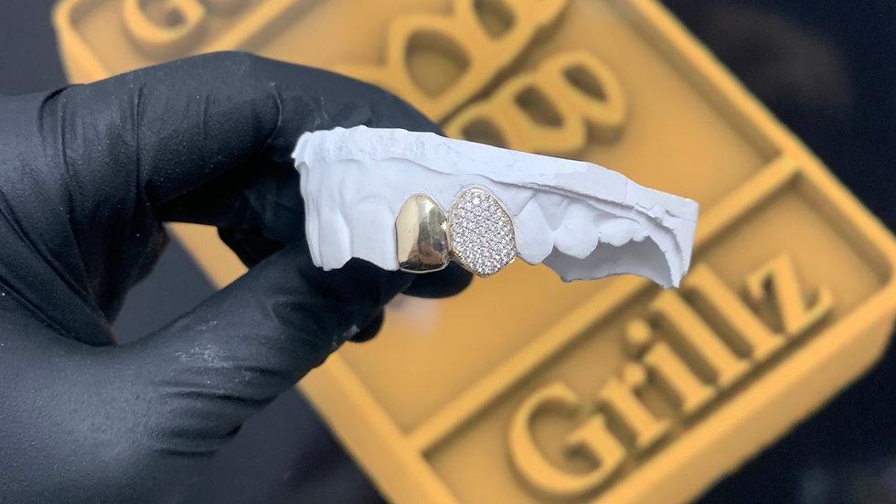 One diamond set, one plain gold