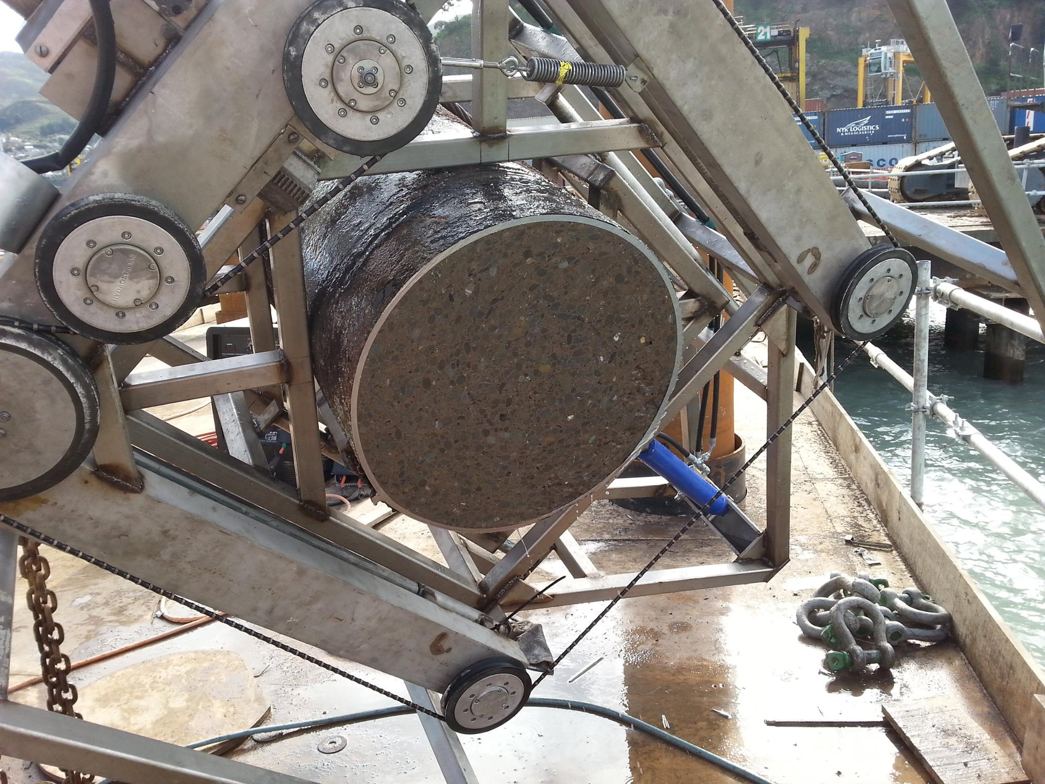 Wiresaw job at the Lyttelton Wharf