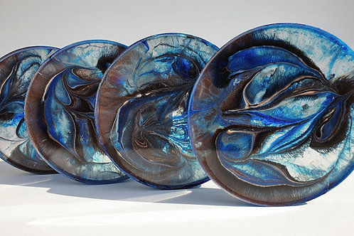 Resin Coaster Set -Blue & Copper