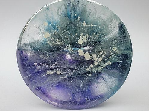 Custom Made Resin Coaster Set - Blue, Purple & White