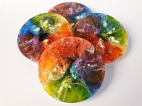 Resin Coaster Set - Rainbow x4