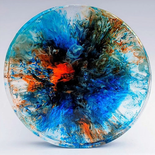 Custom Made Resin Coaster Set - Blue & Orange