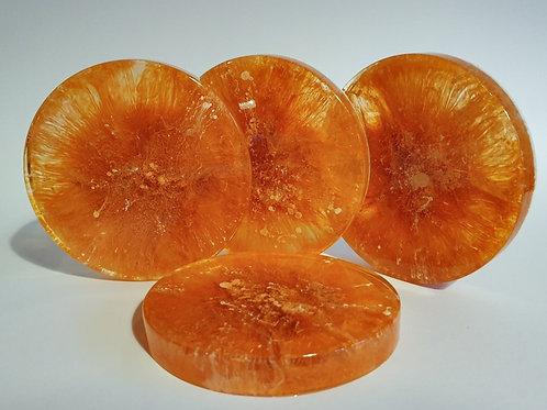 Resin Coaster Set - Orange & White
