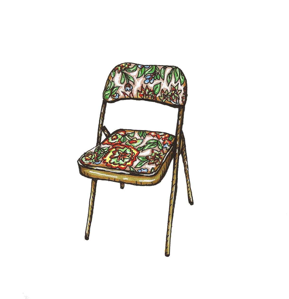 Nana's 1970's Floral Folding Chair