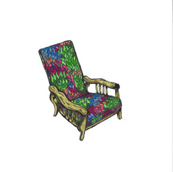 Floral Chair with Wooden Arms