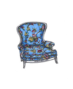 Blue Floral Victorian Parlor Chair