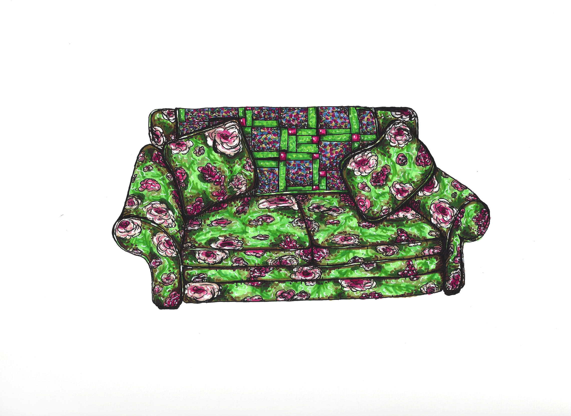 Nana's Green Floral Couch and Quilt