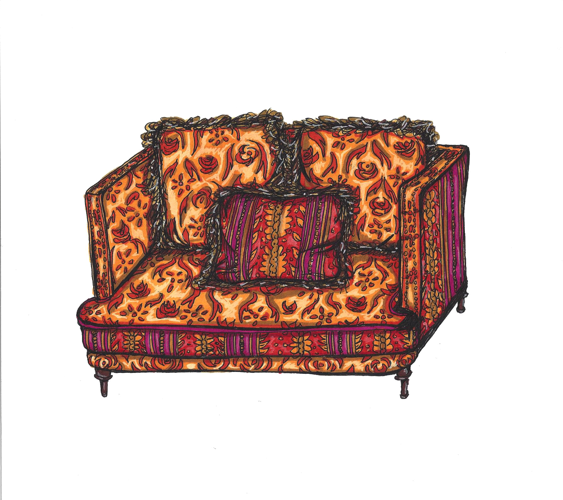 Orange Damask Victorian Loveseat