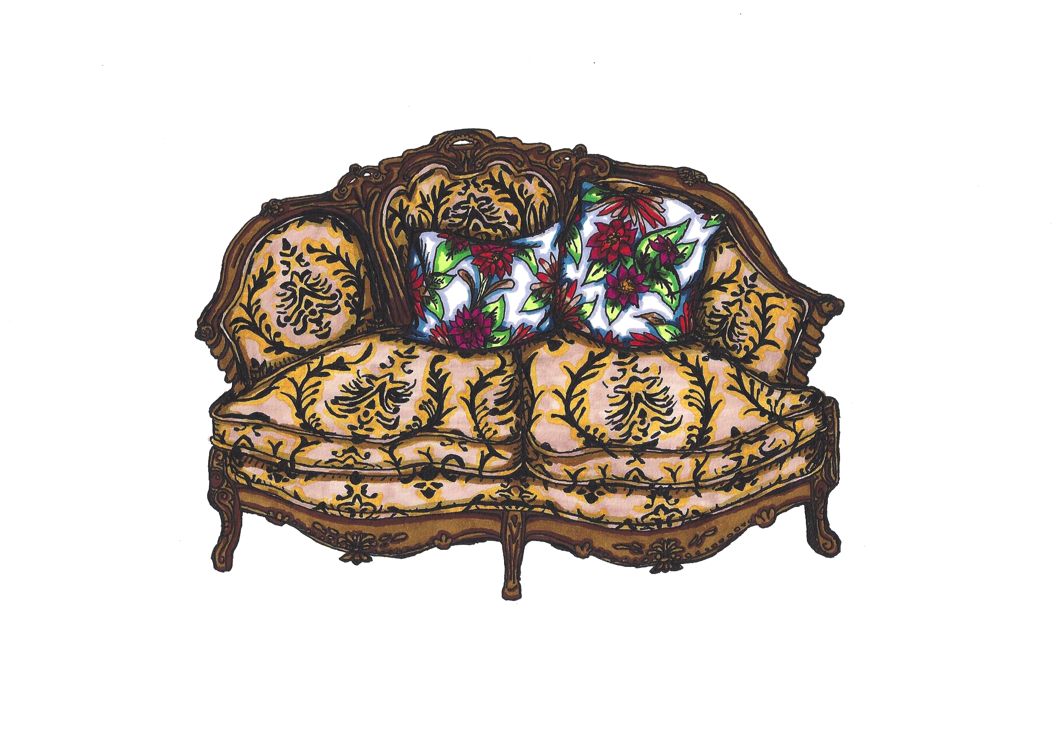 Victorian Damask Loveseat