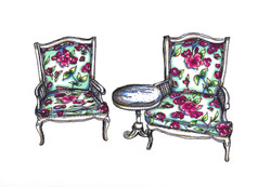 Floral Lawn Chairs and Table