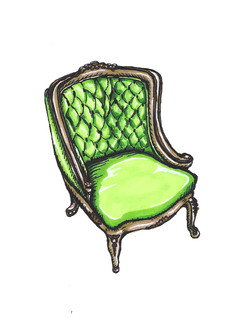 Green Suede Victorian Chair