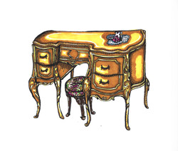French Baroque Gold Vanity and Stool