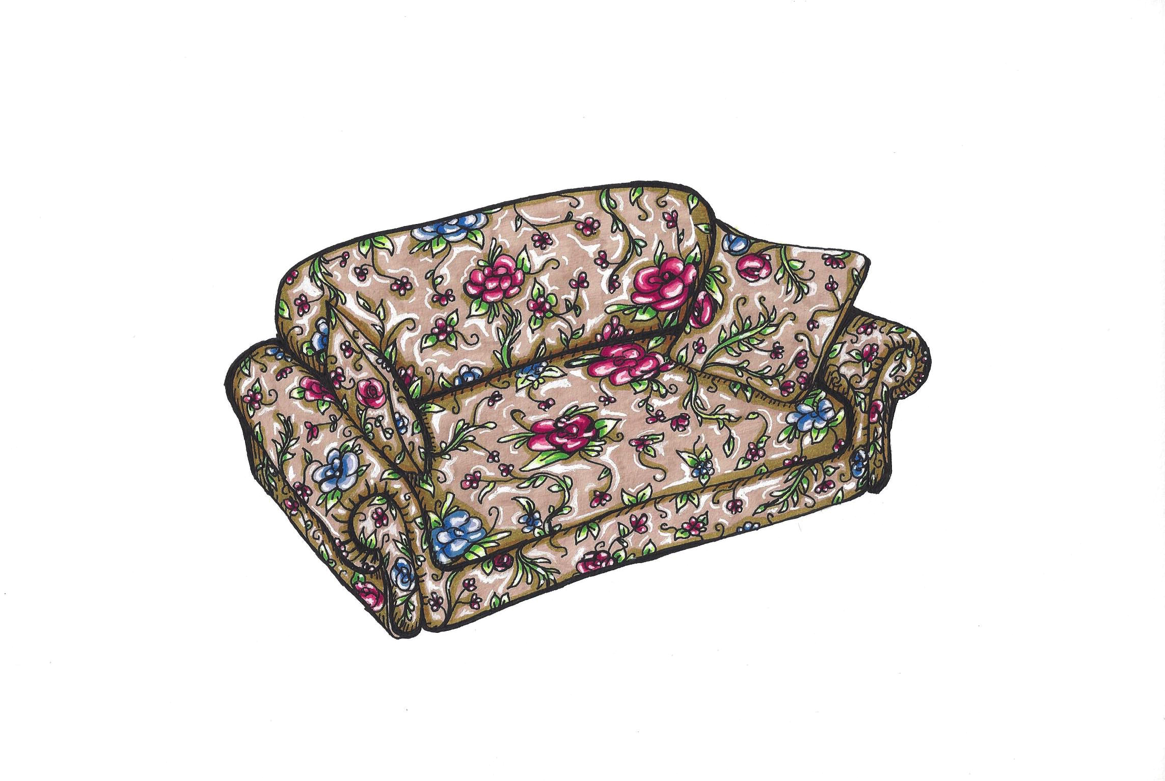 Nana's Floral Couch