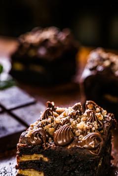 Confeitaria. Brownie de chocolate.