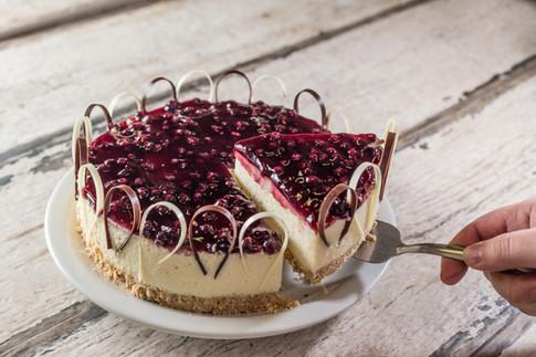 Confeitaria. Cheesecake de amora.