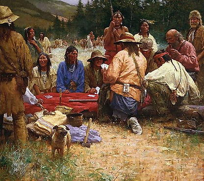 "Howard Terpning ""A Friendly Game At Rendezvous"""