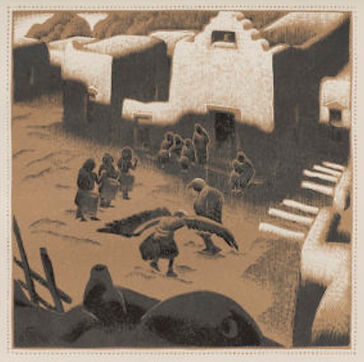 Gustave Baumann - An Eage Dance Ceremony, Tesuque Pueblo