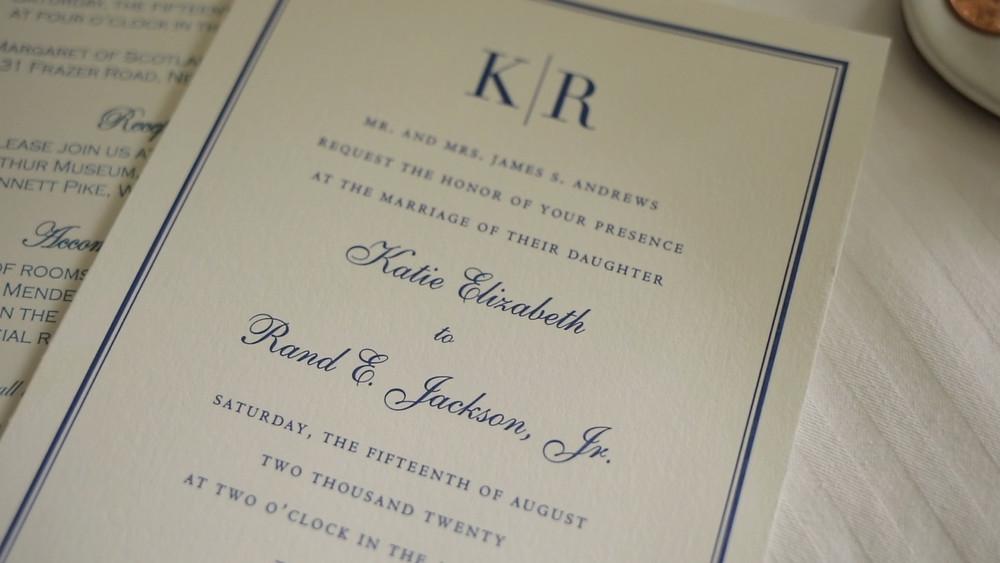 Delaware Wedding Videography - Winterthur - Invites