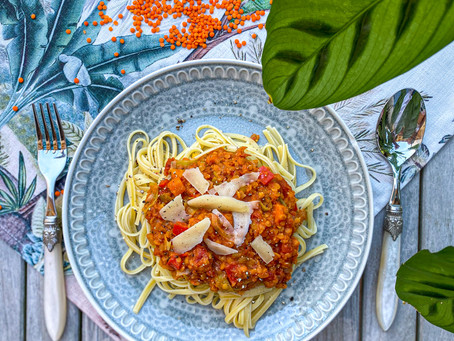 spaghetti mit gemüse-linsen-soße