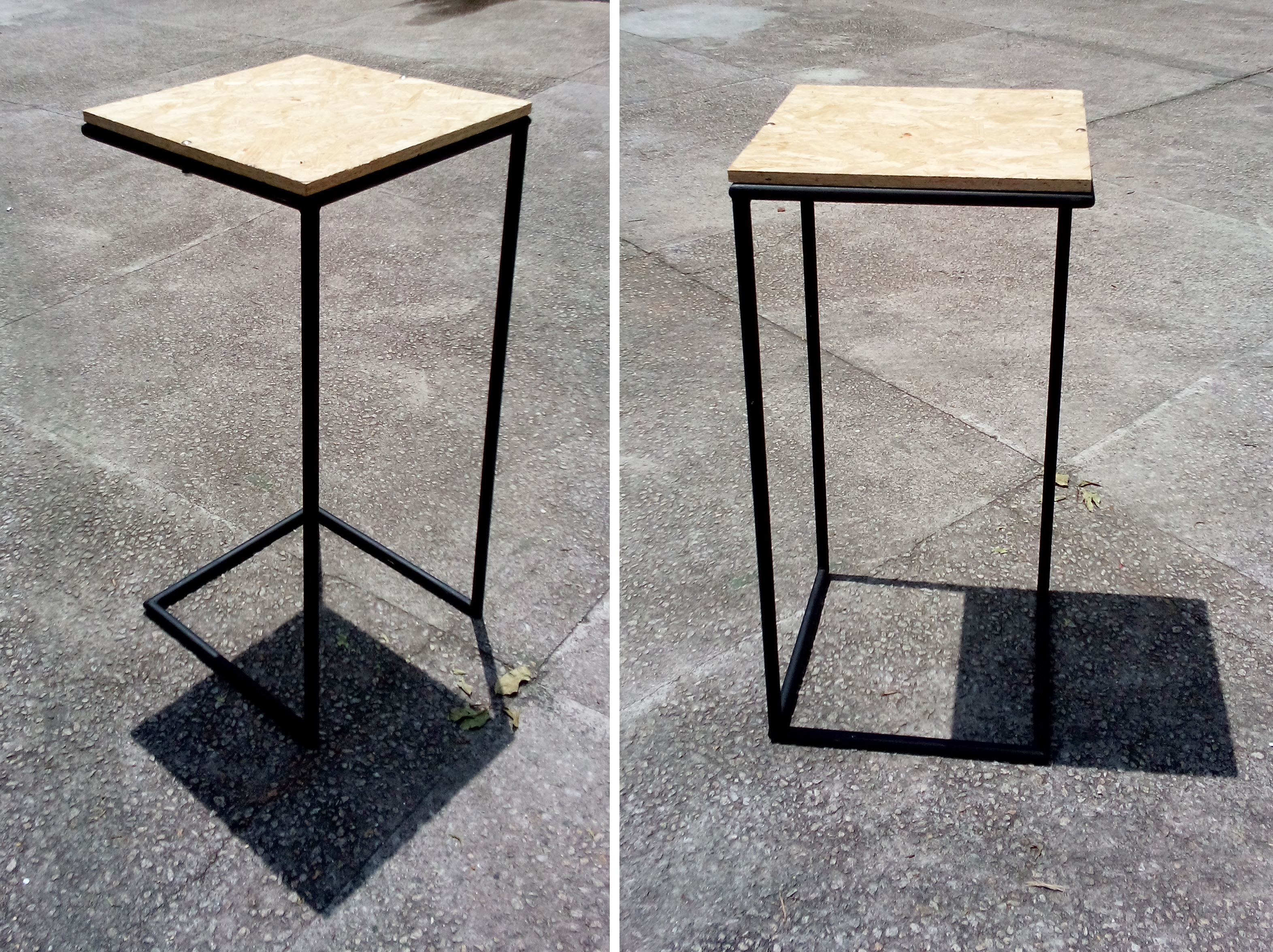 mesas altas em OSB e canos de aço