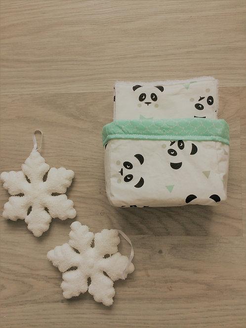 Lot de 10 lingettes lavables panda