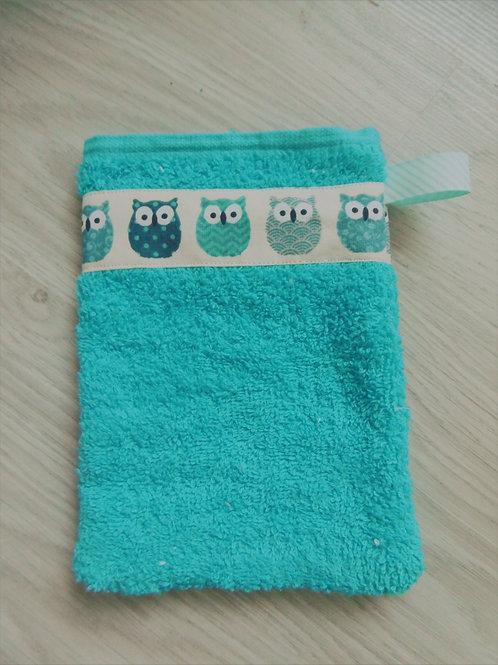 Gant de toilette bleu, motif hiboux