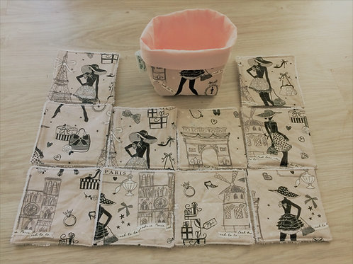 Lot de 10 lingettes lavables paris