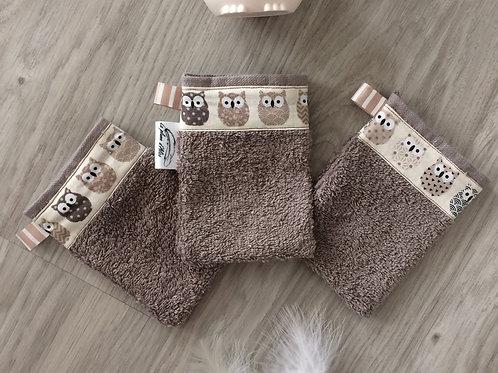 Lot de 3 gants pour enfant, hiboux beige
