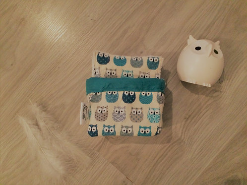 Lot de 10 lingettes lavables hiboux bleu